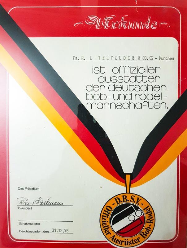 Rodelmannschaft Ausstatter Litzlfelder 1976