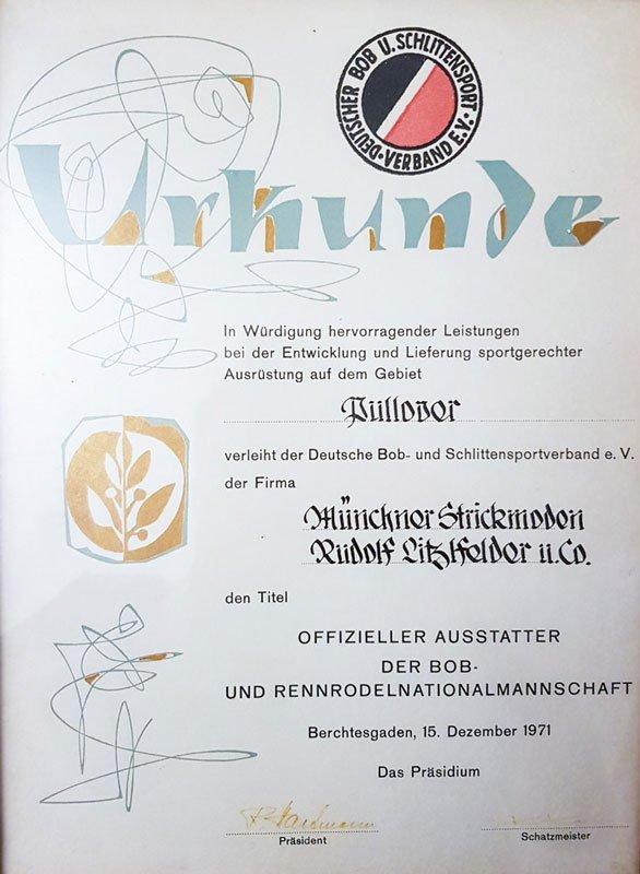 Rodelnationalmannschaft offizieller Ausstatter Liitzlfelder 1971