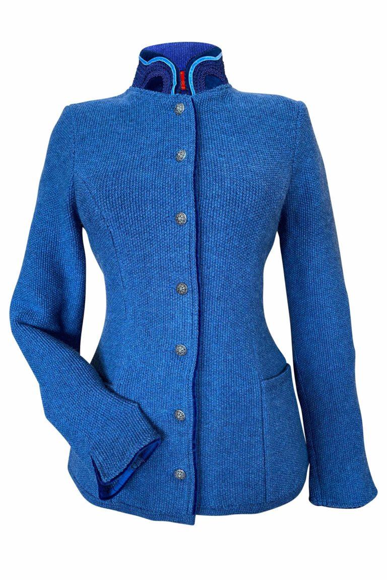 Xenia Mantel jeansblau Vorderansicht